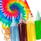 Tie Dye Kit - Oh Daisy - Complete Tie Dye Kit - 4 kleuren Blauw - Groen - Geel -  Roze