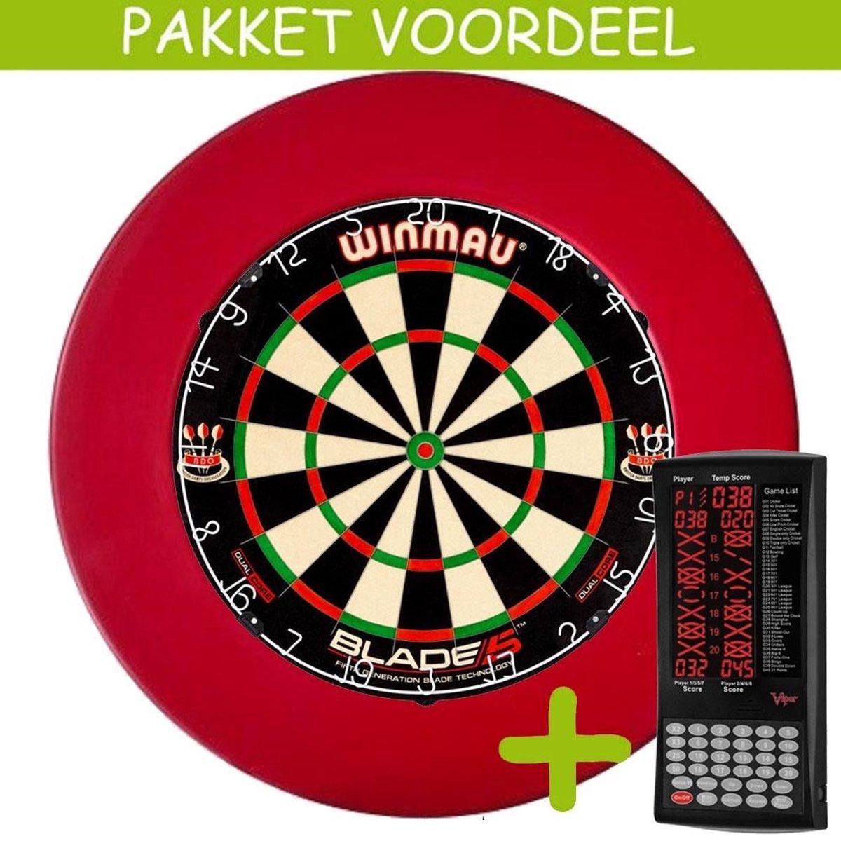 Elektronisch Dart Scorebord VoordeelPakket (Viper ) - Dual Core - Rubberen Surround (Rood)