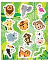 12 stuks Uitdeel stickervelletjes JUNGLE/ SAFARI / traktatie cadeautjes / kinderfeestje / kinderverjaardag