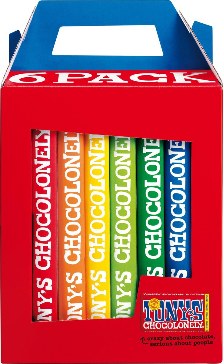 Tony's Chocolonely Rainbowpack Chocolade Cadeau - 6 x 180 gram