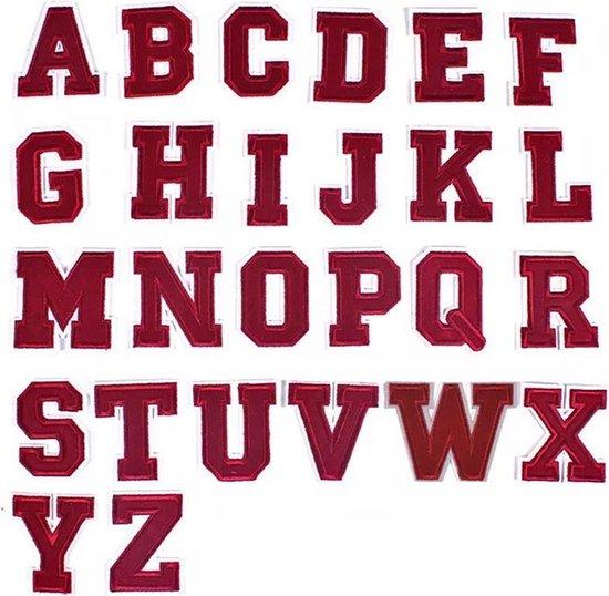 Strijk Embleem 'Alfabet Patch - 26 stuks' - ROOD - Letters Stof Applicatie - Geborduurd - Kleding - Badges - Schooltas - Strijkletters - Patches - Iron On