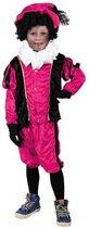 Pieten pak velours Roze/Zwart kind Maat 116