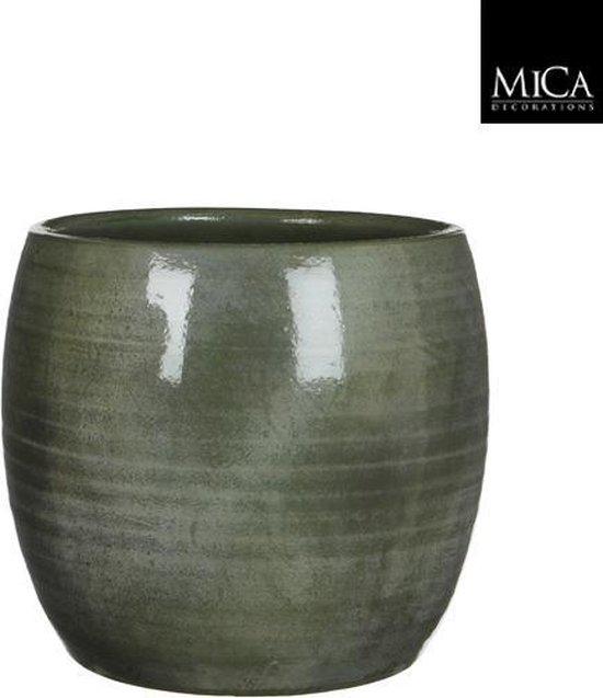 Mica Decorations Lester Bloempot - H26 x Ø28 cm - Terracotta - Groen