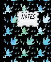 Notes: Tree Frogs Watercolor Silhouette Pattern 7.5'' X 9.25'' 110 Page Wide Ruled Notebook