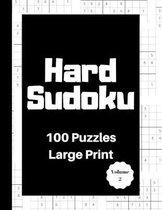Hard Sudoku 100 Puzzles: Large Print Volume 2