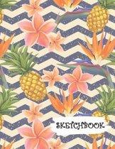 Sketchbook: Tropical Pineapple Fun Framed Drawing Paper Notebook