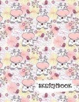 Sketchbook: Flowers & Cute Cartoon Cow Fun Framed Drawing Paper Notebook