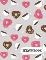 Sketchbook: Coffee & Heart Shaped Donuts Fun Framed Drawing Paper Notebook