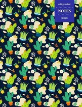 College Ruled Notes 110 Pages: Cactus Floral Notebook for Professionals and Students, Teachers and Writers - Bright Green and Dark Background Cactus
