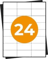A4 Stickervellen - Adresetiketten - 24 Per Vel - 100 Vel In Doos - 2400 Stickers - 70x36mm