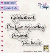 Dtcs027 Clearstamp Dutch Texts Nellie Snellen - Stempel tekst Proficiat Gefeliciteerd van harte Fijne verjaardag