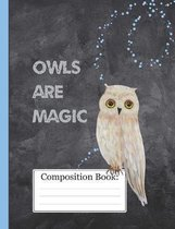 Owls Are Magic: Midnight Magic Owl Composition Notebook 110 Pages