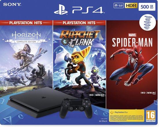 Afbeelding van Sony PlayStation 4 Slim console 500GB + Spiderman + Horizon: Zero Dawn + Ratchet & Clank