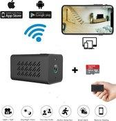 Bastix®  - Verborgen Camera Wifi Met App - Draadloze Action Spycamera - IP Beveiligingscamera - Mini Spycam - Bewakingscamera - Bewegingsdetectie - Draadloos - Stem/Bewegingsdetectie alarm - 2400mah Batterij Capiciteit -Met Bijgeleverde SD Kaart 64GB