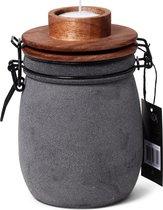 Kaarslicht pot met houten deksel - grijs
