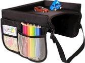 Kinder autotafel met opbergruimte zwart - Autostoel speeltafel - Autotafeltje - Reistafel - Kinder speeltafel voor reizen