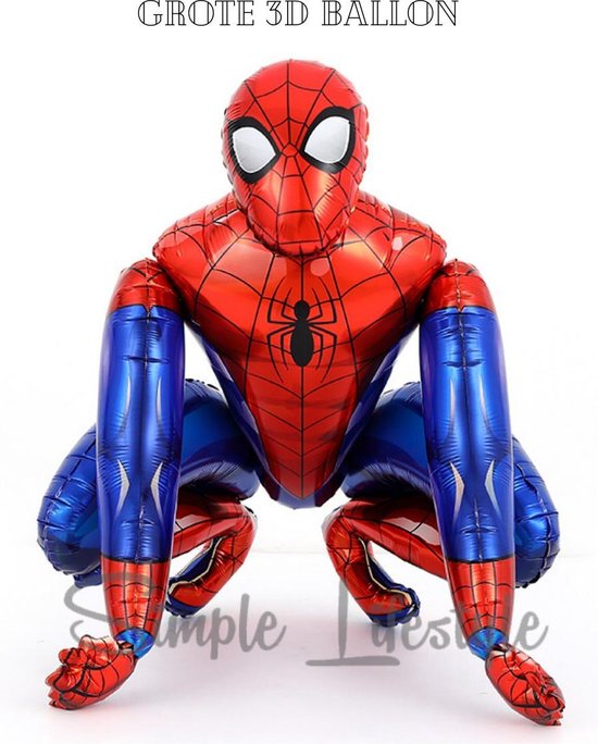 Spiderman XL Ballon 3D folieballon - Versiering - Decoratie - Kinderfeest - Feest - Gote Ballonnen - Inclusief opblaasrietje