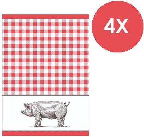 Clarysse - Keukenhanddoek - Pig rood - 50 x 70 cm - 4 stuks