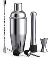 Floureon Cocktailset - Cocktailshaker set - 6-delig - Roestvrij staal - Incl. Receptenboekje