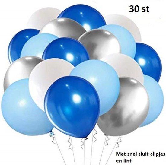 30 st. XL Babyshower ballonnen assortiment - Geboorte jongen - Baby born - Metallic ballonnen - verschillende kleuren - o.a ballon blauw - Grote ballonnen 38 cm lang - peervorm - voor helium, lucht, etc. - met snel sluiters en lintjes t.w.v. 8,95