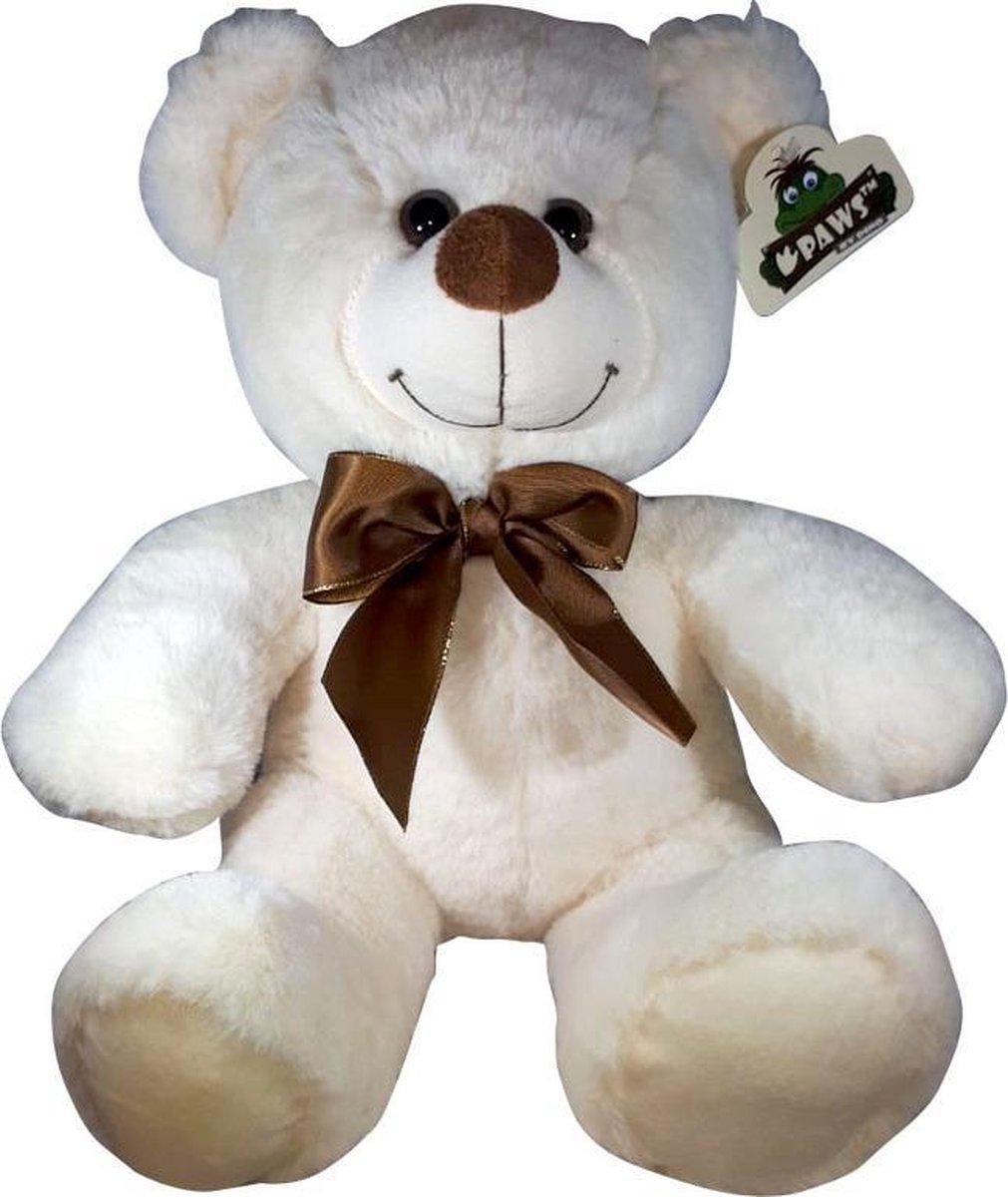 Teddybeer Met Strik Wit 38cm