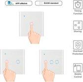 Inbouw WiFi Wandschakelaar Smart Home   2 Kanaals   10A   Smart Switch   Touch of Telefoon App   Android of IOS   Amazon Echo   Google Home   Nest   IFTTT   Wit