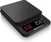 REVALL Digitale Precisie Keukenweegschaal - 0,5g tot 3kg - Inclusief batterijen - Zwart