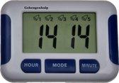 Handig Medicijnalarm met 5 duidelijke alarmen en een timer. Kan staan liggen en hangen. (Blauw)