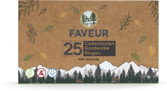 Cederhout Ringen Tegen Motten Natuurlijke  Mottenval Bestrijden - Anti Mot Bescherming - Duurzame Mottenballen Vochtvreter - Premium Set 25 Stuks Faveur®