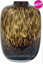 Artic Cheetah vaas - maat M - luipaard vaas - panter vaas - mondgeblazen - glas