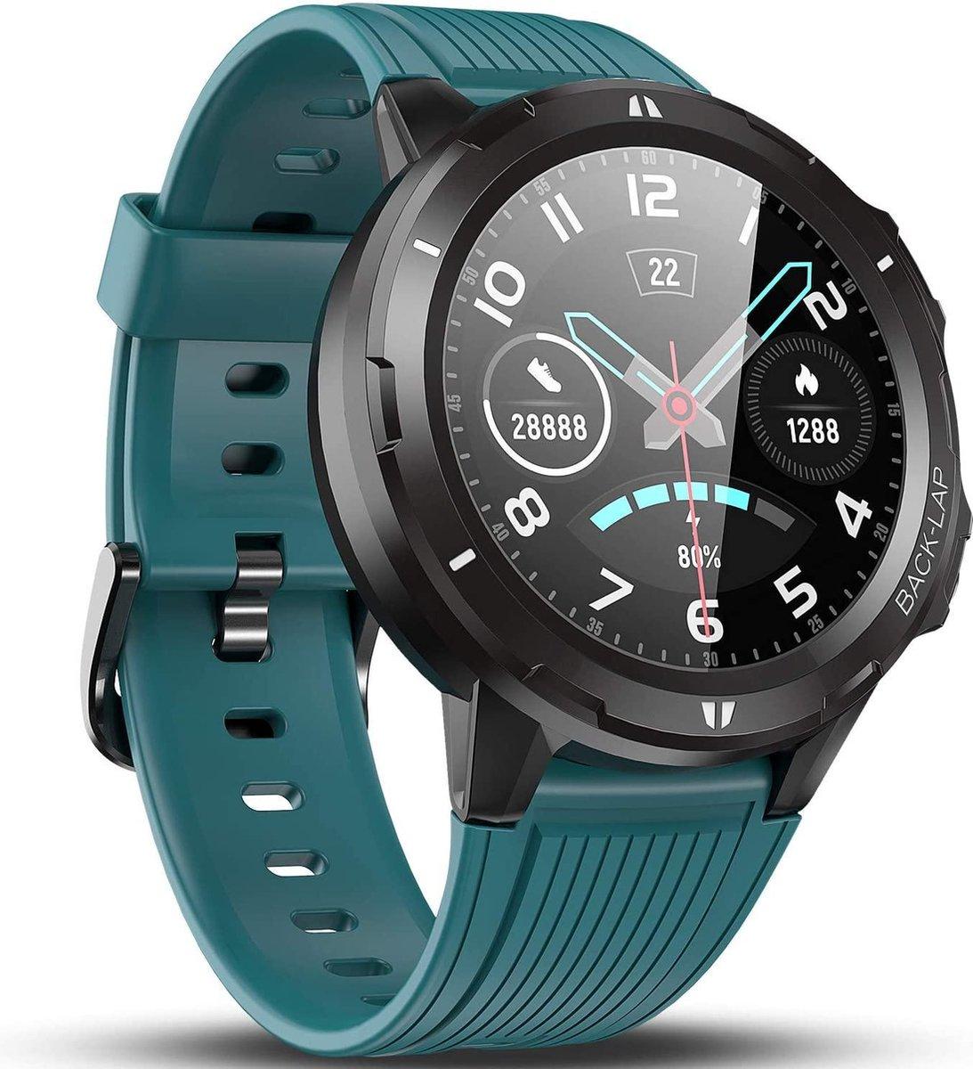 SmartWatch-Trends - Smartwatch S216 - Hartslagmeter - Rond - Blauw kopen