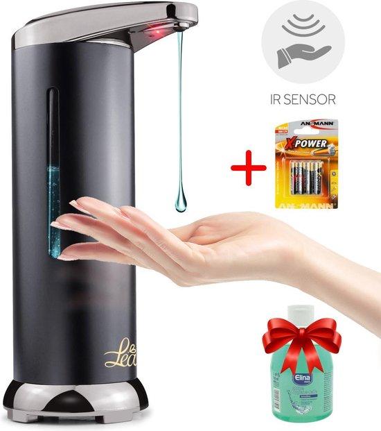 Automatische zeepdispenser met sensor - roestvrijstaal - Incl. batterijen en handzeep - hoge kwaliteit en duurzaam - desinfectie zeep - handgel - handsfree - dispenser