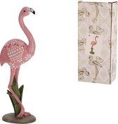 Roze Flamingo op standaard 26cm hoog - Beeld - Woondecoratie - Flamenco - 10x7x26cm