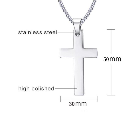 Ketting Kruis - Zilver - Metaal - 60 cm - 1 stuks