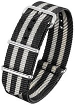 Horlogeband Nato Strap - Zwart Grijs/James Bond Nato - 22mm