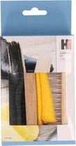 3-Delige schoenpoetsset/setjes met schoenborstels en doekje - Schoenenpoetsen - Schoenen onderhoud benodigdheden