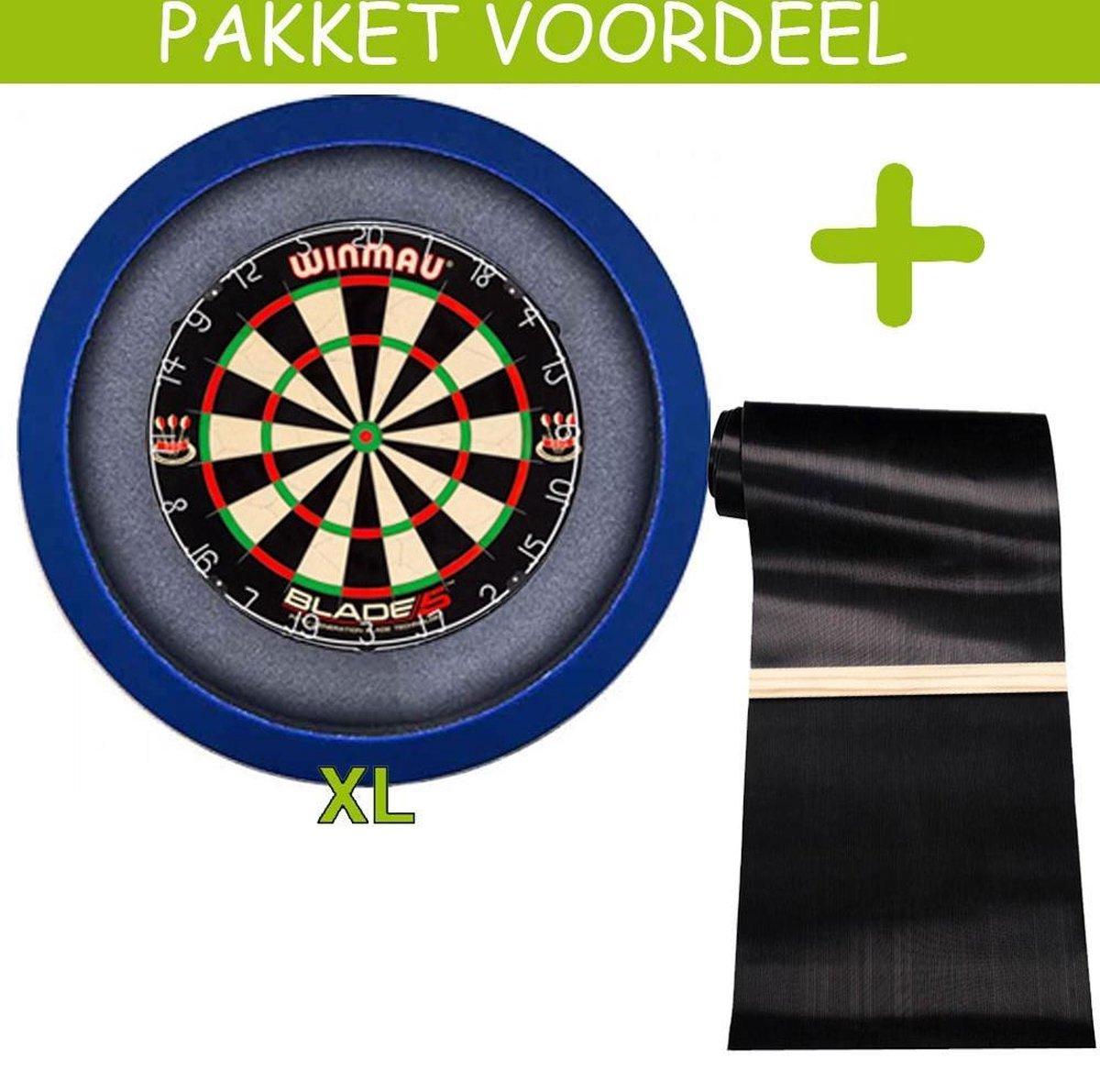 Dartbaan Pro - Blade 5 - 120 x 300 Inclusief Oche - Dartbordverlichting Basic XL - (Blauw)