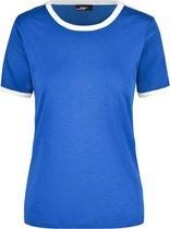 Blauw met wit dames t-shirt M