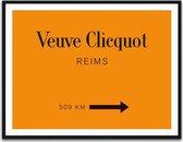 Luxe Fotolijst Veuve Clicqout 52,5 x 72,5 cm | Veuve Clicqout Schilderij | Wanddecoratie Interieur Styling