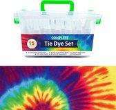 QBIX Tie Dye Set van 15 kleuren - Complete textielverf tie dye kit met elastiek en knijpflesjes