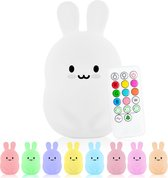 Sleepy Friends® 8 kleurige LED Nachtlampje kinderen - Konijntje - Nachtlampje baby - Oplaadbaar - Dimbaar