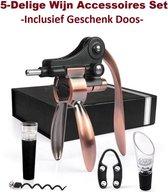 Luxe Wijn Opener Set 5 in 1 - Professionele Kurkentrekker - Flesopener - Wijn Accessoires Set - Hefboom - Flessenstopper - Folie Snijder - Schenktuit - Vacuümpomp - Wine Opener - Corkscrew - Incl. Geschenk Doos - Cadeautip