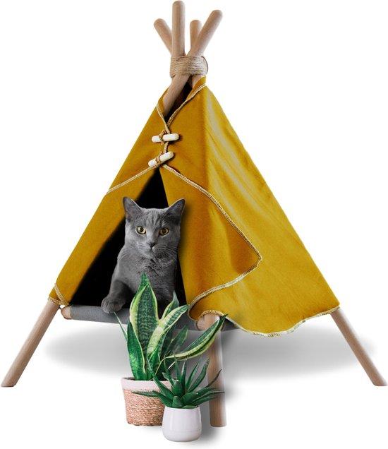 Katten Tipi tent met hangmat – Kattenmand - Hondenmand - Katten en honden wigwam huisje – Geel