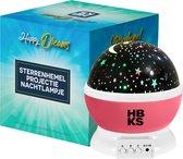 HBKS Happy Dreams Sterren Projector - Galaxy Projectie - Star Light - Sterrenhemel Snoezellamp - Slaaptrainer Baby - Nachtlampje Kinderen - Speelgoed Jongens en Meisjes - Projectorlampen - Babyprojectors - Roze