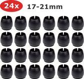 24x Stoelpoot Beschermers 17-21mm - Rond - Doppen - Viltjes - Zwart