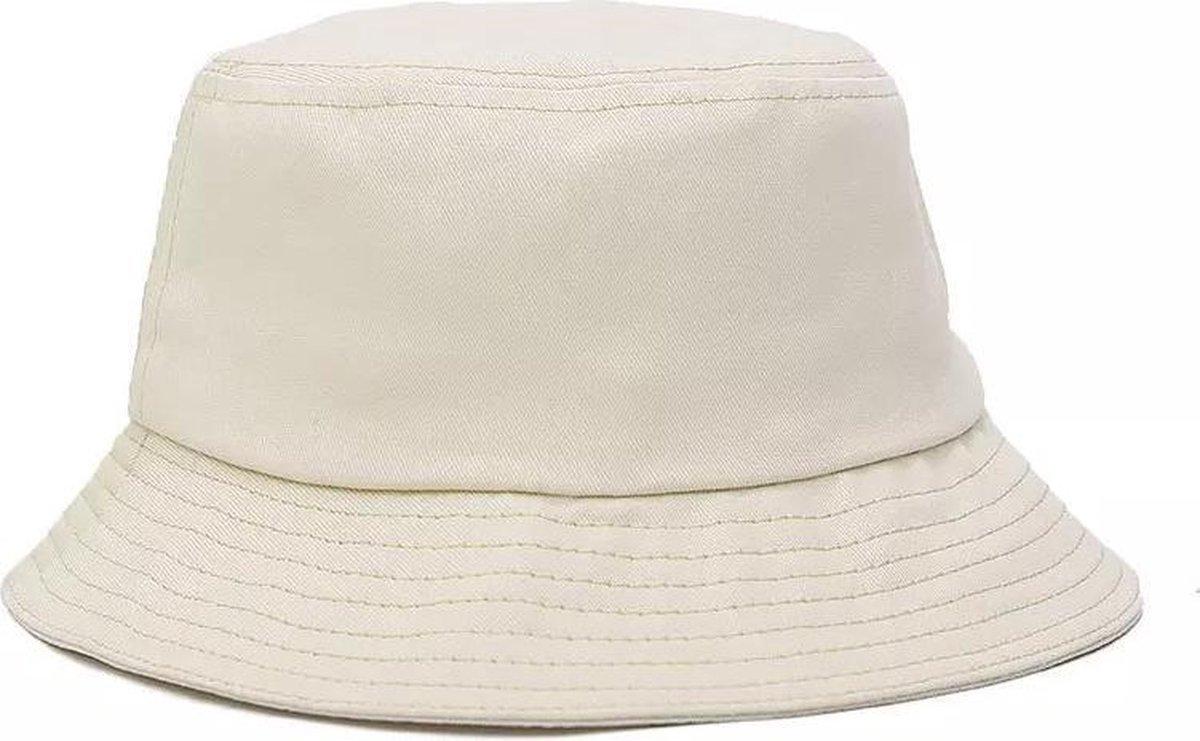 Bucket Hat - Beige - Wit - Unisex - Zonnehoed - Emmer Hoedje - UV