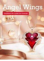 Goude Engel Vleugel Kettingen voor vrouwen Love Swarovski® Hart Pendant Hanger - Ketting 43cm +5cm