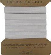 stevig band elastiek - wit - 12 mm breed bandelastiek - voor kleding of mondkapjes - blister 1,2 cm x 5 meter
