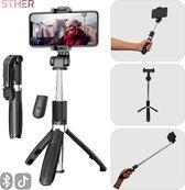 STHER© 3in1 Selfie Stick met Bluetooth Afstandsbediening - 360 Graden Functie - Selfie Stick Tripod - Selfiestick Universeel - Selfiestick Iphone