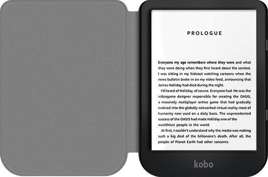 Smart Cover Book Case Hoes Voor Kobo Nia 6 Inch (2020) E-reader - PU Lederen Sleepcover Sleeve Hoesje - Front & Back Beschermhoes Met Screen Protector & Stylus Pen - Zwart